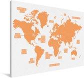 Moderne oranje gekleurde wereldkaart Canvas 30x20 cm - klein - Foto print op Canvas schilderij (Wanddecoratie woonkamer / slaapkamer)