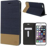 Shop4 - iPhone 6s Hoesje - Book Case Denim en Leer Donker Blauw