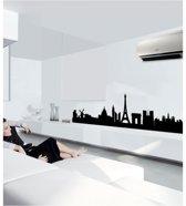 Muursticker Parijs Skyline - zwart - zelfklevend velours - 133 x 34 cm cm