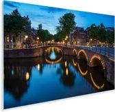 Verlichte Prinsengracht in de avond Plexiglas 180x120 cm - Foto print op Glas (Plexiglas wanddecoratie) XXL / Groot formaat!