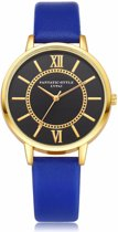 Hidzo Horloge LVPAI ø 37 mm - Blauw - Kunstleer