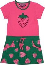 Happy Nr. 1-meisjes-jurk, kleed-Aardbei-kleur: roze, groen-maat 140