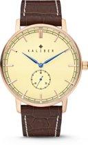 Kaliber 7KW-00003 - Stalen Horloge met Leren Band - Bruin en Rosékleurig - 40 mm