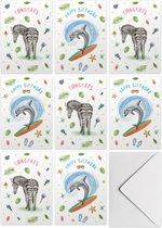 Kaartenset verjaardagskaarten - 10 stuks - met envelop - Formaat A6 - Dolfijn - Zebra - Schilderingen in aquarel door Mies to Go