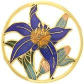 Behave® Broche rond met bloem blauw emaille