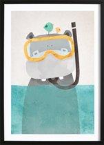 Snorkel Nijlpaardje Poster (29,7x42cm) - Kinderen - Poster - Print - Kinderkamer - Wallified