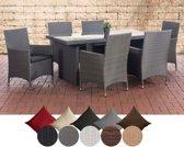 Clp Avignon - Tuinset - Poly rotan - kleur wicker grijs kleur overtrek antraciet