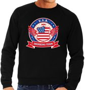 Zwarte USA drinking team sweater heren XL