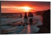 Dibond –Rotsen in het Water met Zonsondergang– 120x80 Foto op Aluminium (Wanddecoratie van metaal)