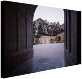 Klooster van Montserrat in Barcelona Canvas 180x120 cm - Foto print op Canvas schilderij (Wanddecoratie woonkamer / slaapkamer) / Steden Canvas Schilderijen XXL / Groot formaat!