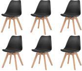 Eetkamerstoelen Zwart 6 STUKS Plastic met Kunstleren zitje / Eetkamer stoelen / Extra stoelen voor huiskamer / Dineerstoelen / Tafelstoelen / Barstoelen / Huiskamer stoelen/ Tafelstoelen / Barstoelen