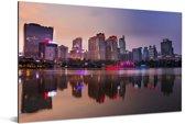 Zonsondergang in de Chinese stad Nanning Aluminium 180x120 cm - Foto print op Aluminium (metaal wanddecoratie) XXL / Groot formaat!