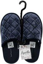 Donker blauwe instap sloffen/pantoffels diamant patroon voor dames - Donker blauwe slippers voor dames 37-38