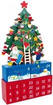 Houten Adventskalender Versierde Kerstboom