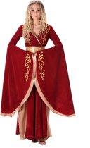 Rood met goud middeleeuwse koningin kostuum voor vrouwen - Verkleedkleding