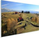 Rode boerderijen in het Nationaal park Piatra Craiului in Roemenië Plexiglas 60x40 cm - Foto print op Glas (Plexiglas wanddecoratie)