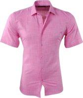 Pradz - Heren Korte Mouw Overhemd met Trendy Design - Slim Fit - Roze