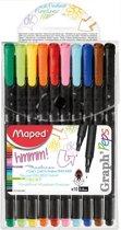 Graph'peps fijnschrijver 0,4 mm - 10 assorti kleuren - in etui x 10