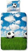 Snoozing Voetbal flanel dekbedovertrek Multi 1-persoons (140x200/220 cm + 1 sloop)