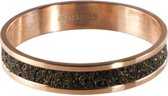 Quiges Stapelring Ring - Vulring Bruin Glitter - Dames - RVS roségoudkleurige - Maat 21 - Hoogte 4mm