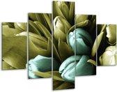 Glasschilderij Tulp | Blauw, Zwart, Groen | 100x70cm 5Luik | Foto print op Glas |  F003776