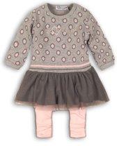 Dirkje Meisjes Baby Setje 2-delig - Grey + grey + pink - Maat 68