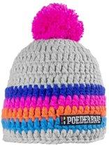Poederbaas muts voor dames One Size - grijs/roze/oranje/blauw, skimuts met fleece aan de binnenzijde, skimuts voor wintersport, wintersport muts