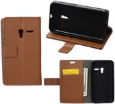 Litchi Cover wallet case hoesje Alcatel One Touch Pixi 3 4.0 bruin