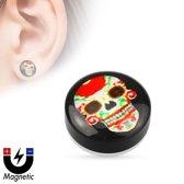 Fake plug piercing sugar skull rood �LMPiercings