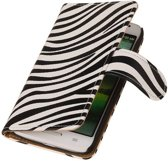 Zebra Bookstyle Hoes voor LG Optimus L70 Wit