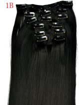 Synthetic Clip-In HairExtensions sets kleur:1B 140 gram