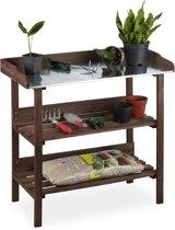 relaxdays oppotafel - hout - plantentafel - werktafel tuin - metaal - tuinwerkbank