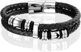 Montebello Armband Skabal - Unisex - Staal - Leer - Zwart - ∅21 cm