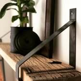 Steigerhoutpassie stalen plankdrager - Set Wagondeel geschaafd 90 cm - Staal