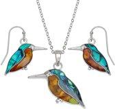 Tide Jewellery Puau Shell - Vogel Collectie - Kingfisher / Ijsvogel Set