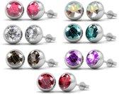 Yolora Swarovski Elements oorbellen set - Rond - 7 kleuren