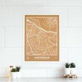 Miss Wood - City Map kurken stadskaart - 60x45cm (L) - Amsterdam met witte frame - Wit