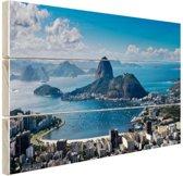 Rio de Janeiro landschap Hout 60x40 cm - Foto print op Hout (Wanddecoratie)