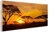 Zonsondergang in de Serengeti Hout 160x120 cm - Foto print op Hout (Wanddecoratie) XXL / Groot formaat!