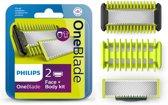 Philips OneBlade Face + Bodykit QP620/50 - Vervangmesjes - 2 mesjes