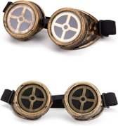 Steampunk goggles zonnebril - brons tandwiel - bril goud burning man