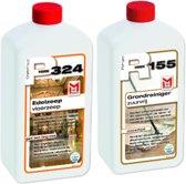 Onderhoudset Natuursteen HMK R155 Grondreiniger Zuurvrij & P324 Edelzeep 2x 0.5L