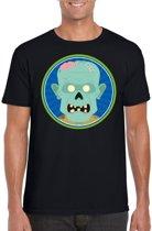 Halloween zombie t-shirt zwart heren - Halloween kostuum XL
