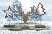 Set van 3 stuks Kerstfiguren op houten standaard - Kerstboom - Kerstster - Rendier