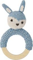 Sebra - Rammelaar gehaakt konijn - Pastel blauw L15cm W8cm