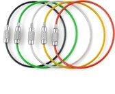 5 verschillende kleuren stainless steel sleutelringen