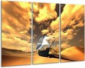 Canvas schilderij Boot | Geel, Bruin, Wit | 120x80cm 3Luik