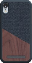 Nordic Elements Frejr backcover voor Apple iPhone XR -  Walnoot hout / donkergrijs textiel