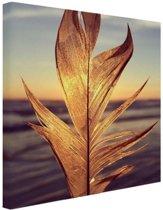 Veer bij zonsondergang foto Canvas 100x100 cm - Foto print op Canvas schilderij (Wanddecoratie)