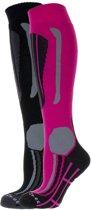 Falcon Victoria Wintersportsokken - Maat 35-38 - Vrouwen - roze/ grijs/ zwart